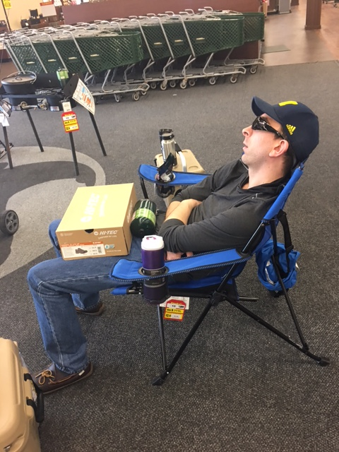 Alan napping at the front of Gander Mountain